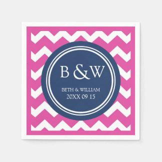 Custom Monogram Wedding Napkin Pink Blue Chevron Disposable Napkins