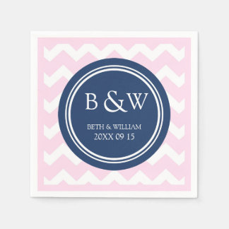Custom Monogram Wedding Napkin Pink Blue Chevron Paper Napkin