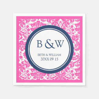Custom Monogram Wedding Napkin Pink Blue Damask Disposable Napkins