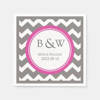 Custom Monogram Wedding Napkin Pink Grey Chevron Paper Napkin