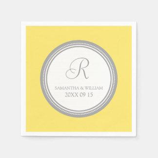Custom Monogram Wedding Napkins Grey Yellow Disposable Serviettes