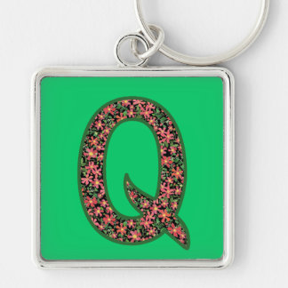 Custom Monogrammed Q Keychain, Primroses Pattern Key Ring
