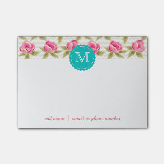 Custom Monograms Post-it® Notes with roses