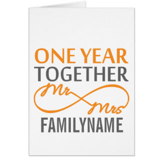 Custom Mr and Mrs 1st Anniversary Greeting Card