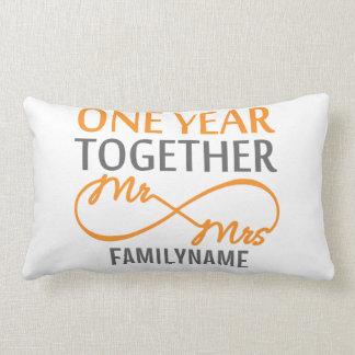 Custom Mr and Mrs 1st Anniversary Lumbar Pillow
