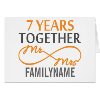 Custom Mr and Mrs 7th Anniversary Greeting Card
