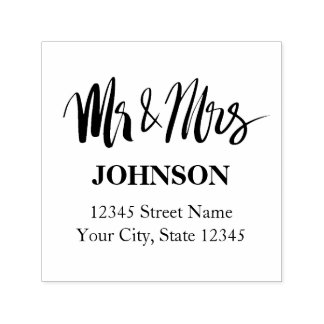 Custom Mr and Mrs self inking address stamp