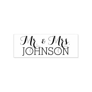 Custom Mr. & Mrs. Family Name - Wedding Reception Self-inking Stamp