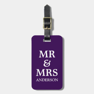 Custom Mr Mrs Purple Wedding Honeymoon Travel Tag