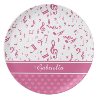 Custom Music Notes and Hearts Pattern Pink White Plate