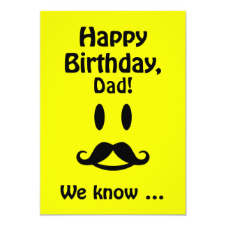 Custom Mustache Smiley Birthday card for anyone
