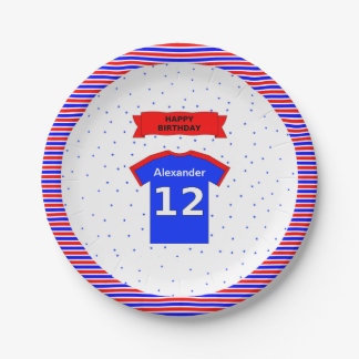 Custom name 12th birthday party 7 inch paper plate