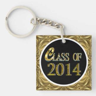 Custom Name 2014 Graduate Gold And Black Keychain