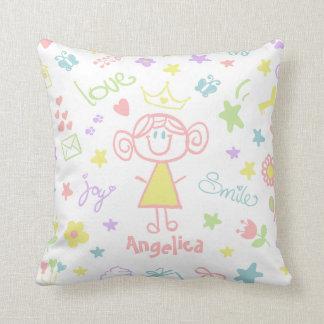 Custom Name Baby Girl Throw Pillow Pastel