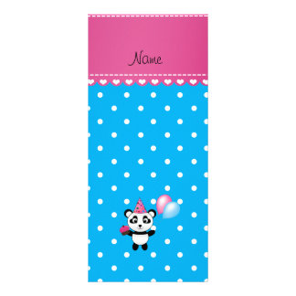 Custom name birthday panda blue white dots rack cards