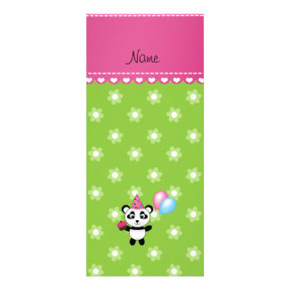 Custom name birthday panda green flowers customized rack card