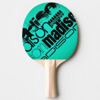 Custom Name; Black &  Neon Aqua Turquoise Ping Pong Paddle