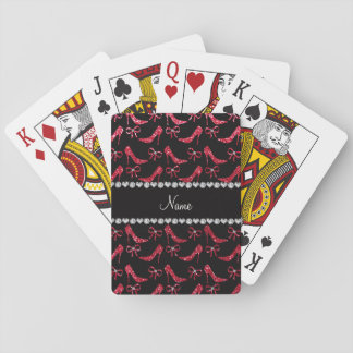 Custom name crimson red glitter high heels bow playing cards