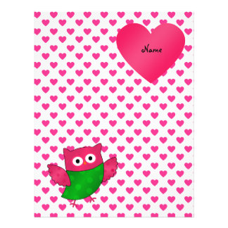 Custom name cute owl pink hearts personalized flyer