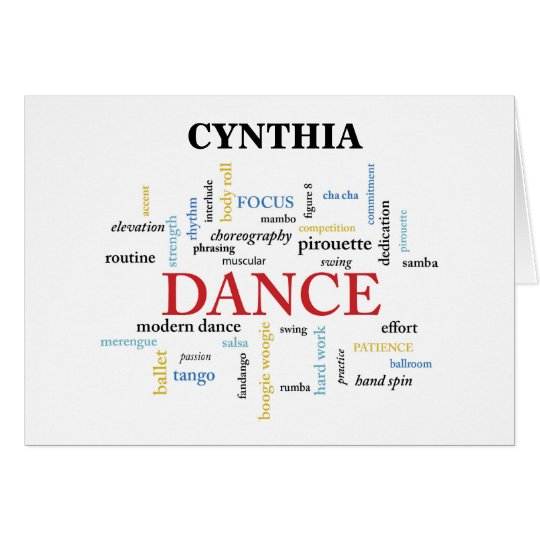 Custom Name Dance Teacher Thank You in Words Card