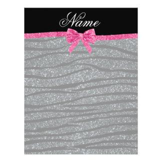 Custom name dark gray glitter zebra stripes bow personalized flyer