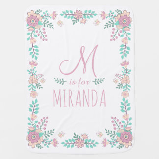 Custom Name Floral Monogram Baby Girl Blanket Pram blankets
