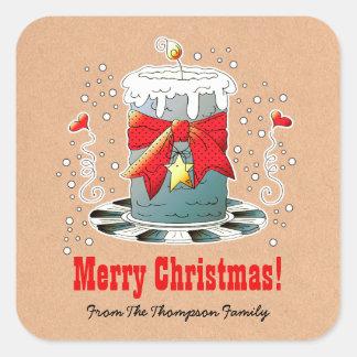 Custom Name Fun Christmas Candle Gift Stickers