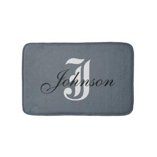 Custom Name Gray Handsome Modern Monogram Classic Bath Mat