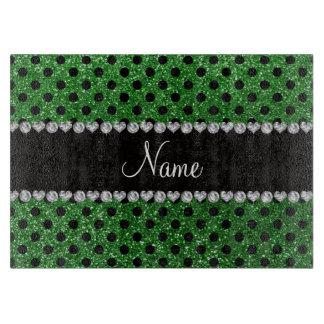 Custom name green glitter black polka dots cutting board
