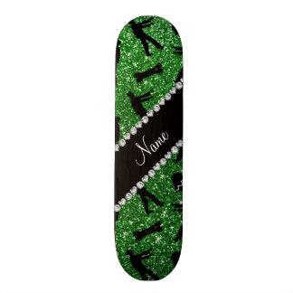 Custom name green glitter zombies skate board decks