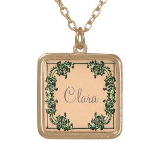 Custom name green swirl gold pendant necklece