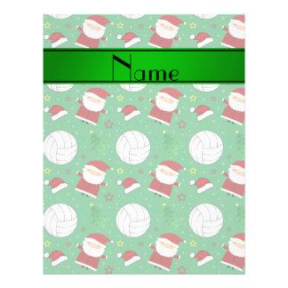 Custom name green volleyball christmas pattern flyer design
