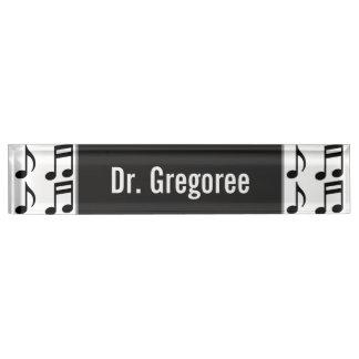 Custom Name + Grid of Musical Notes Desk Nameplate