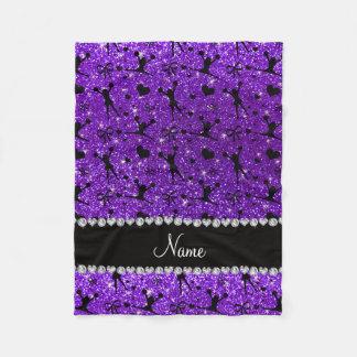 Custom name indigo purple glitter cheerleading fleece blanket