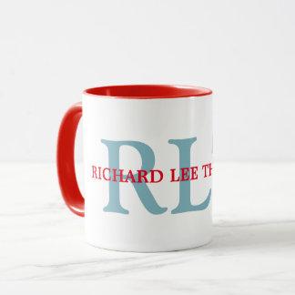 custom name + initials personalised monogram red mug