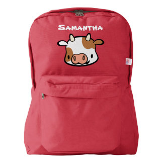 Custom Name Kids School Backpack (cow)
