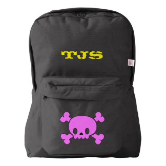 Custom Name Kids School Backpack (pink skull)