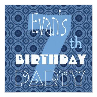 Custom Name Modern Kid's 7th Birthday Blue V7 13 Cm X 13 Cm Square Invitation Card