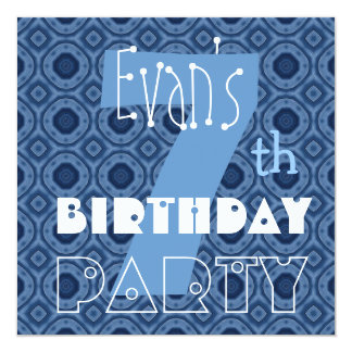 Custom Name Modern Kid's 7th Birthday Blue V7 Card