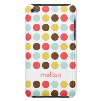 Custom name modern polka dot colorful pattern barely there iPod covers
