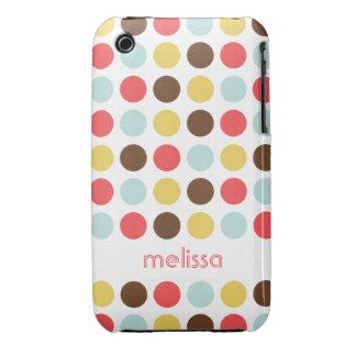 Custom name modern polka dot colorful pattern iPhone 3 Case-Mate case