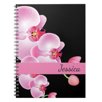 Custom Name Notebook-Pink Orchids Notebooks