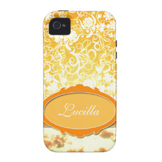 Custom Name Orange Girly Pattern Flowers and Sky iPhone 4/4S Cover