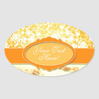 Custom Name Orange Girly Pattern Flowers and Sky Oval Sticker