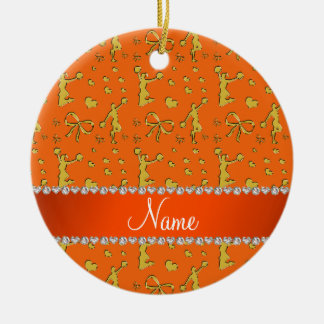 Custom name orange gold cheerleading bows hearts christmas ornament