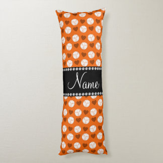 Custom name orange volleyballs and hearts body pillow