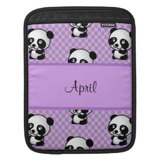 Custom Name Panda Bears on Purple Gingham iPad Sleeve