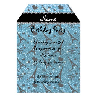 "Custom name paris eiffel tower sky blue glitter 5"" x 7"" invitation card"