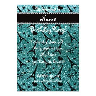 "Custom name paris eiffel tower turquoise glitter 5"" x 7"" invitation card"