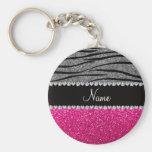 Custom name pink glitter light grey zebra stripes
